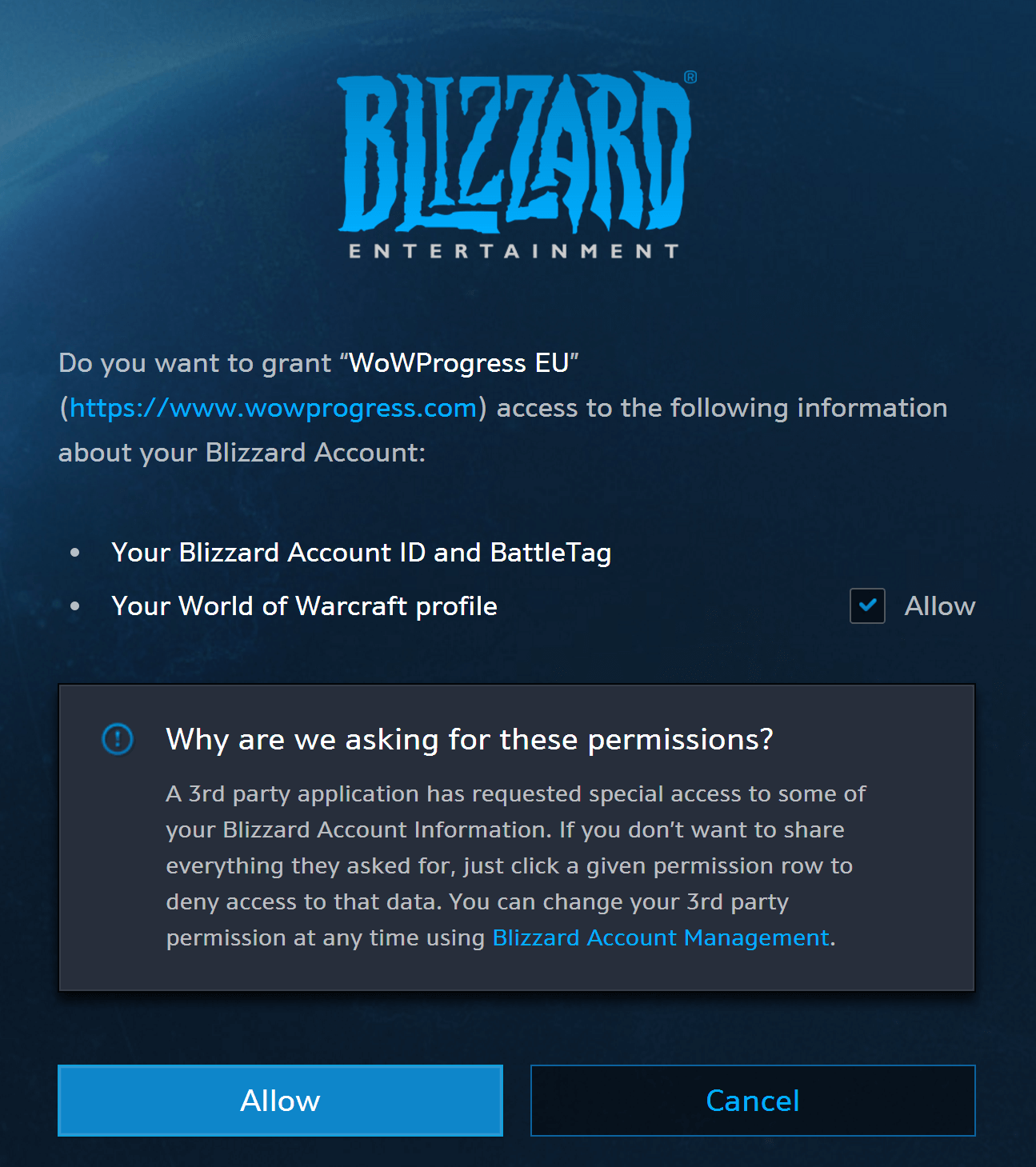 Easier character confirmation with Battle net sync :: WoWProgress